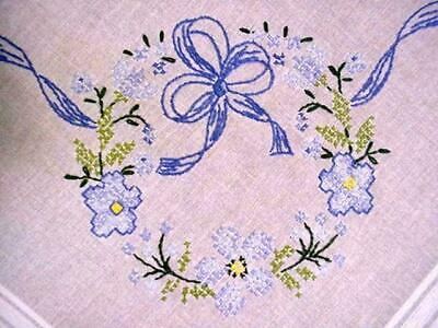 Vintage Embroidered FORGET ME NOT Tablecloth SPRING FLORAL Blue & White LOVELY