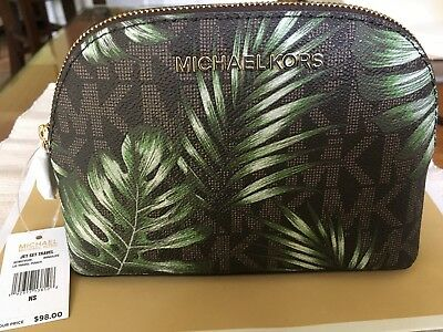 7bed0bda1921 MICHAEL KORS NWT $98 Jet Set Travel Palm Print LG Travel Cosmetic Bag  35T8GTVU3V
