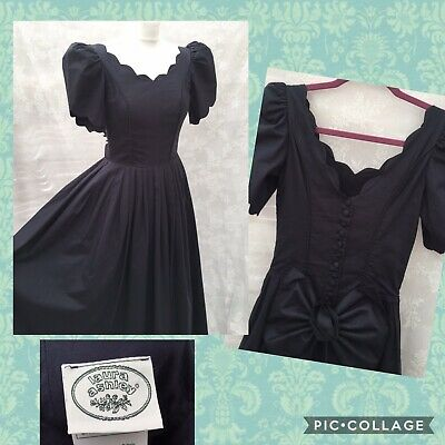 Laura Ashley Vintage Edwardian Style Navy Cotton Dress Puff Sleeves UK 8 Us 4