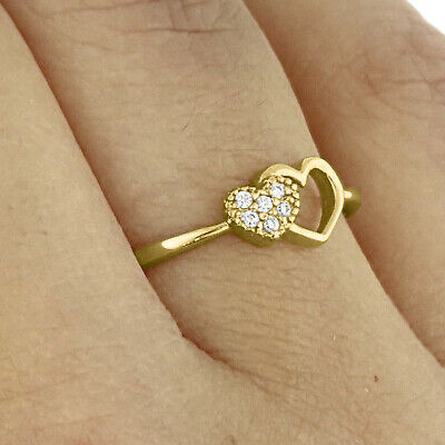 10K Solid Yellow Gold Heart Ring CZ Cubic Zirconia Valentine Engagement Promise