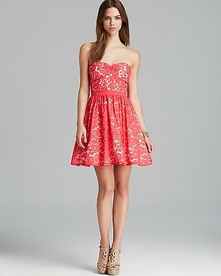 AQUA Coral Lace Overlay Fit-and-Flare Strapless Cocktail Dress Size 10