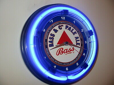 Bass English Ale Beer Bar Man Cave Advertising Blue Neon Wall Clock Sign