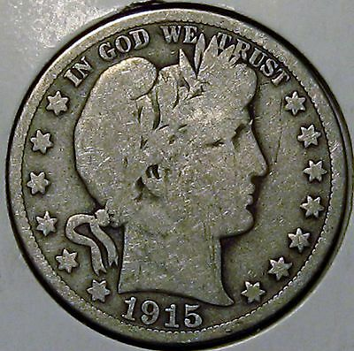 1915-S Barber Silver Half Dollar, Good!!!!!!  Free Shipping!!!!!!