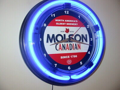 Molson Canada Beer Bar Man Cave Advertising Blue Neon Wall Clock Sign
