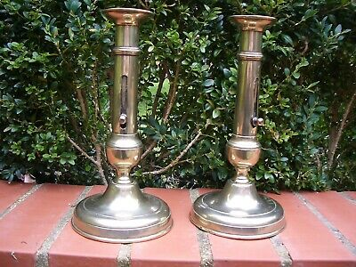 Pair of Antique Early 19th Century Lateral Slide Ejector Brass Candlesticks