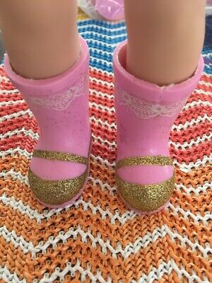 """American Girl 14.5"""" Wellie Wishers Doll Shoes Boots Pink Ashlyn Sparkly Glitter"""
