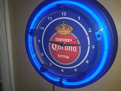 Corona Cerveza OldLogo Beer Bar Man Cave Advertising Blue Neon Wall Clock Sign