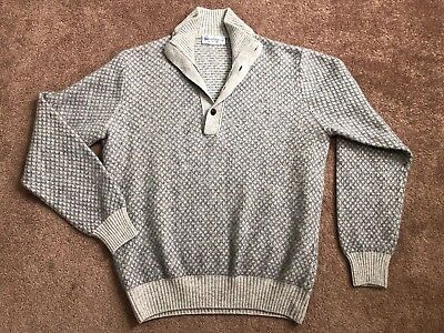 7bdc652d Bullock & Jones Gray Cable Knit Sweater Size Small Leather Collar Buttons