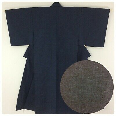 Japanese men's kimono, navy blue wool, medium, Japan import (AP2582)