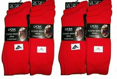 Pack Of 6 Pairs Mens Red Everyday Use Lycra Crew Socks Comfortable Business 6/11