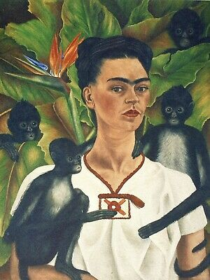 Frida Kahlo, Self Portrait with Monkeys 1943, Hand Signed Lithograph