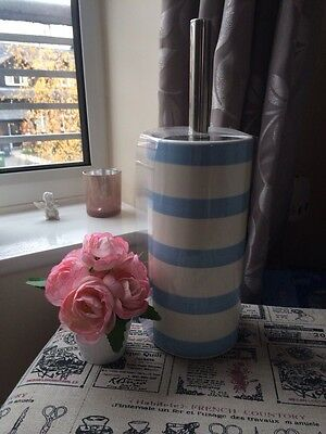 Nautical Toilet Brush Holder Ceramic White Light Blue Stripes