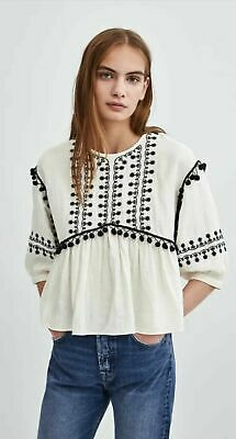 52a055fb ZARA TRF embroidered blouse top POMPOMS with black embroidery BOHO size L  ecru