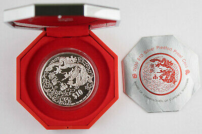 Singapore 2000 $10 2 Oz Silver Piedfort Year of Dragon Proof Coin +BOX & COA