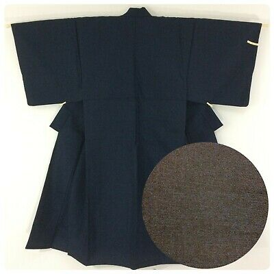 Japanese men's kimono, navy blue wool, small, short, Japan import (AP2583)