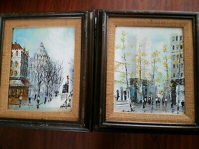 Lot of 2 Mid Century Modern Canvas Painting  Marvin