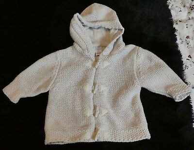 Next Newborn Knitted Hooded Lined Cardigan Age 0-3 Months
