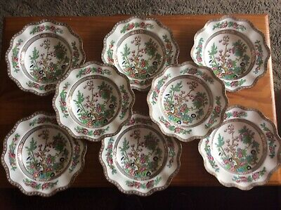 Coalport Indian Tree Pattern Multicolor Eight Soup Bowls