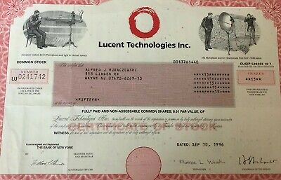 Lucent Technologies Inc 1996 Vintage Stock Certificate 15 shares- Bank New York