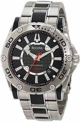 New Men's Bulova Precisionist Champlain Black Carbon Fiber Watch 96B156