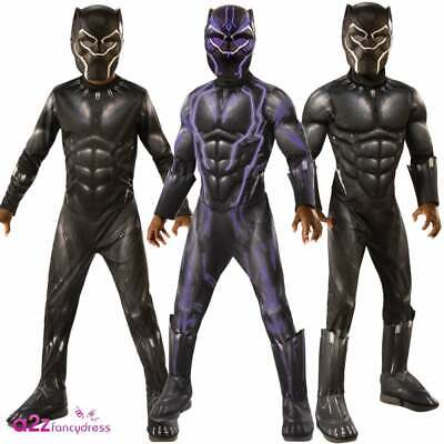 Boys Black Panther Costume Marvel AVENGERS ENDGAME Superhero Battle Fancy Dress
