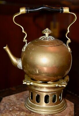 Older Vintage  Brass & Copper Tea Pot On Holder Base