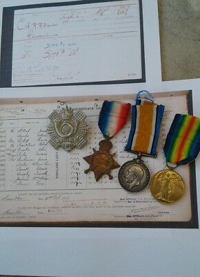 WW1 Medal Trio 1914-15 Star British War  Victory Medal + Cap Badge Wounded H.L.I
