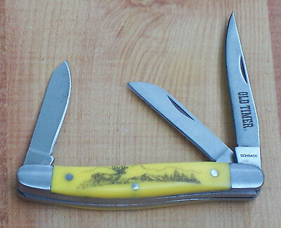 "Schrade Old Timer Stockman Pocket Knife 3 1/2"" Yellow Delrin Scrimshaw Deer"