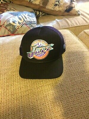 bdb2c2d45a6 Rare New Era 9 Fifty Utah Jazz Hardcourt Classics Snapback Mesh Trucker Hat  Mint