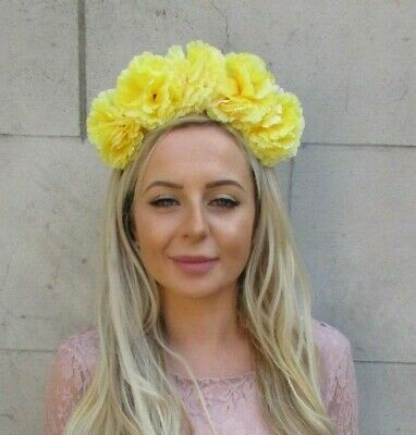 Pastel Lemon Light Yellow Carnation Flower Headband Hair Crown Garland Band 7190