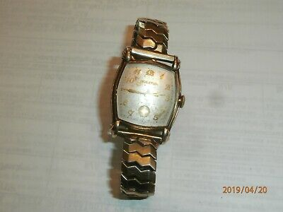 Art Deco Vintage Bulova 15 Jewels 10Bc Swiss Mens Wristwatch W/ Speidel Band