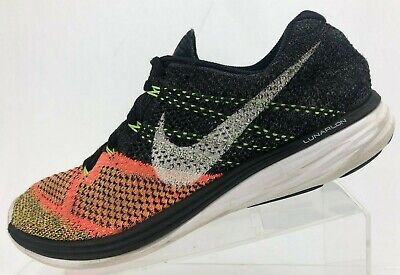 brand new 43019 09cc7 Nike Flyknit Lunar 3 Running Shoes Black Multicolored Training Sneakers Mens  9.5