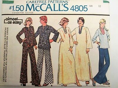 MCCALL'S CLASSIC PAJAMA Vintage Pattern Scrubs & Button top size 6