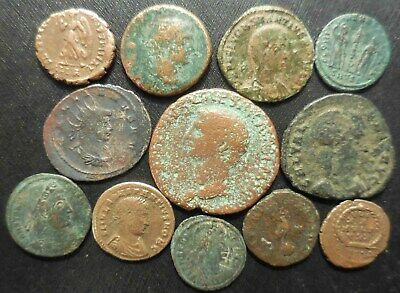 Lot of 12 Very Fine Ancient Roman Coins Including 28mm Claudius As! One Day Sale