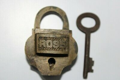 013 Old antique solid brass padlock or lock with key small miniature ROSE