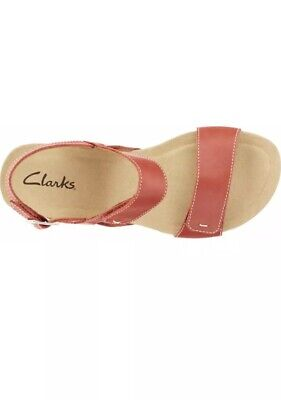 d683409c83a Clarks Alto Disco Size 9M US Women s Red Leather Wedge Heel Comfort Sandals