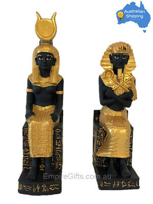 2 x 28cm Egyptian King + Queen Statues on Hieroglyphics Throne SET of 2
