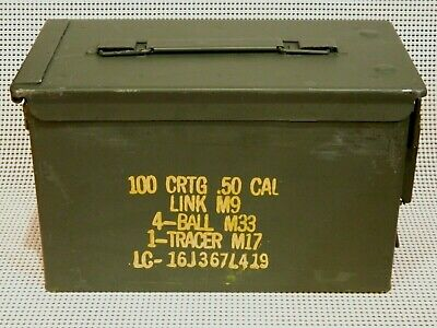 50 Cal Ammo Box Military Surplus Metal Storage Can Container .50 Caliper