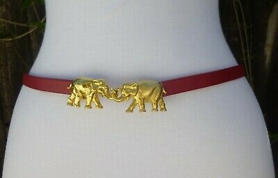 "Vtg. Dotty Smith Gold Tone Metal Double Elephant Buckle w/1/2""faux. Leather Belt"