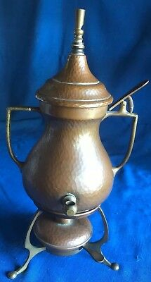 DRGM Copper Brass German Samovar Tea Coffee Pot w/ Whistle Heater Wick Mission