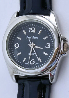 Women's Fred Belay 25mm Silver Dress Watch Navy Patent Leather 7¼ Arabic Shiny
