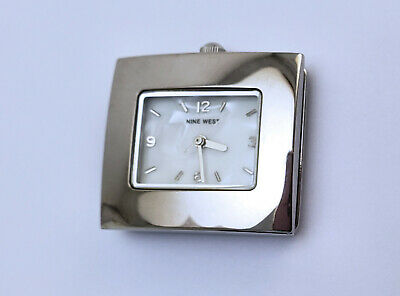 Women's Bright Silver Rectangular Nine West Quartz Watch 28mm By 25mm MOP Dial