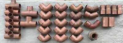 """Lot of 33-1"""" Copper Plumbing Fittings Tees,90,Reducer,Coupling ,Union ,Etc.."""