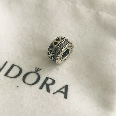 * Authentic Silver Pandora Hearts Spacer Charm 797415Cz