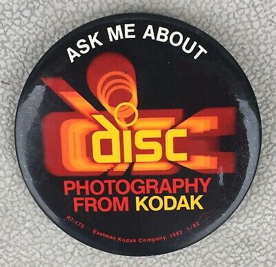 """1982 Vintage """"Ask Me About Disc Photography"""" From Kodak Film 3"""" Pinback Button"""