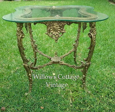 Ornate~Vintage~Gold~Gilt~French~Provincial~Lamp~Table~Glass~Top