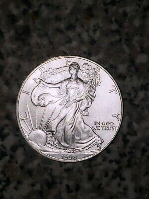 1998 American Silver Eagle 1 Oz Coin Exact Shown. Nicer Coin. Will Holder Looks