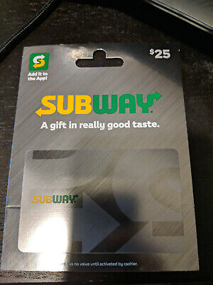 Subway Physical Gift Card $25 Value Free Shipping!