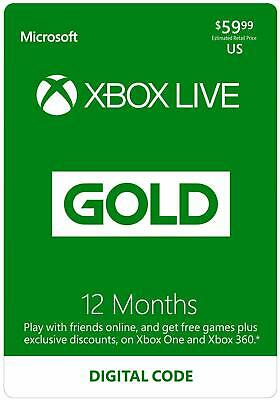 NEW DIGITAL DOWNLOAD  Xbox LIVE 12 Month Gold Membership for XBOX ONE / 360