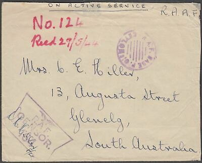 India Official Scarce R.a.f. Censorship Cover South Australia - Rare